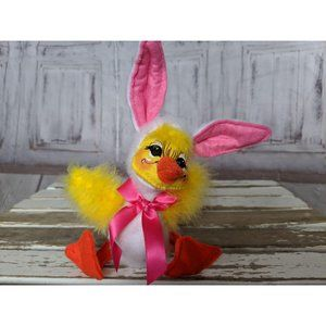 Vintage Annalee Easter Spring Duck Bunny Ears Pink